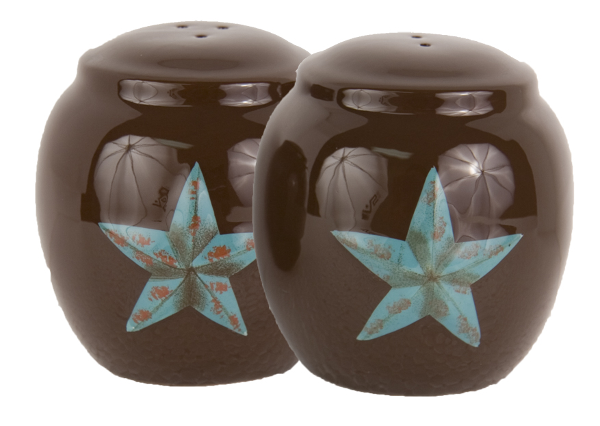 Rustic Turqoise Star Salt and Pepper
