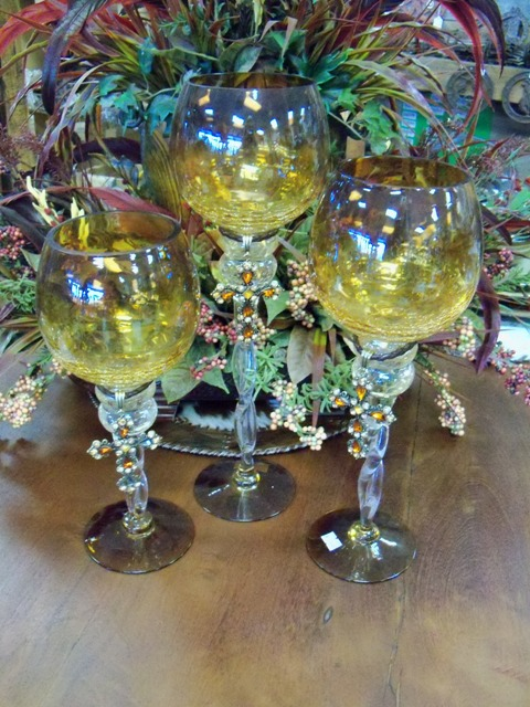 Amber Glass Candle holder with Bling Cross