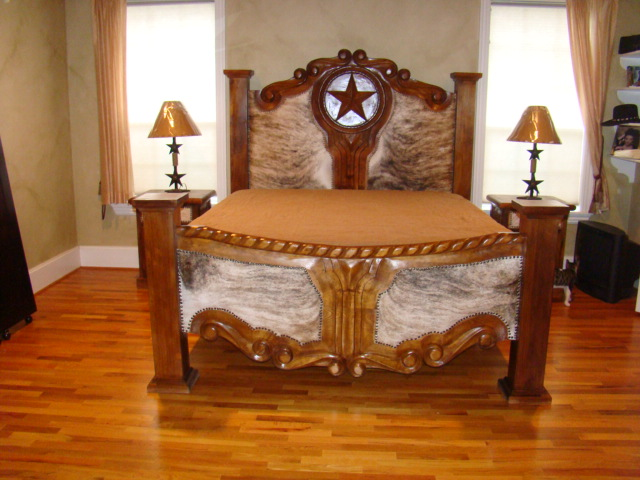 Hand Carved Bed: King Hand Carved Bed, Hand Carved Star With Cowhide Accents