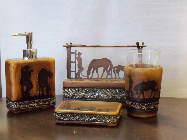 Wild cowboy and horse bath decor