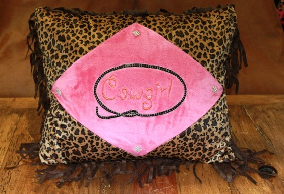 Cowgirl Leopard Pillow
