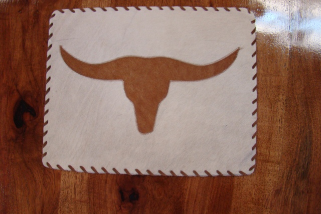 Cowhide Placemat with Longhorn & Leather Lace