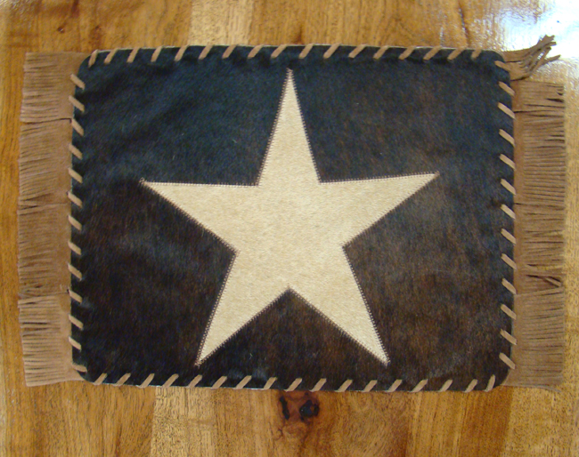 Cowhide Placemat with Star and Fringe