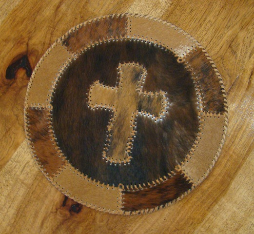 Cowhide Round Placemat with Cross
