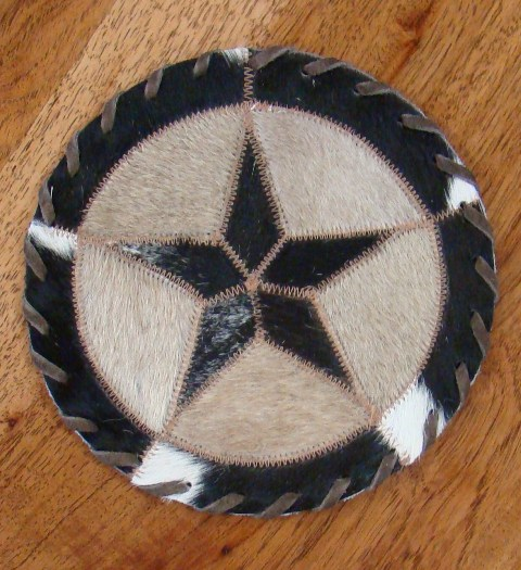 Cowhide Round Placemat with Star 12""