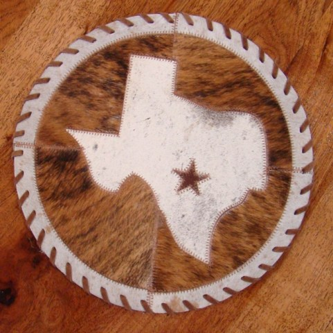 Cowhide Round with Tx Map and Star 13""