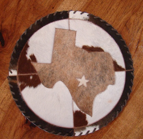 Cowhide Round Placemat with Tx Map