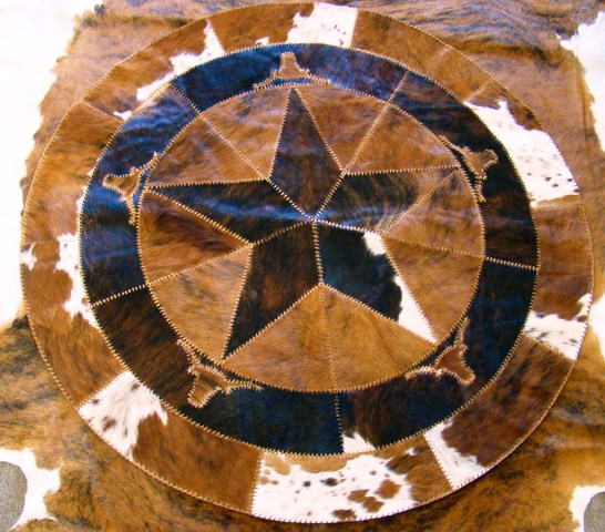 Cowhide Round Star with Longhorns