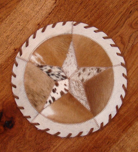 Cowhide Round Placemat with Star 10""