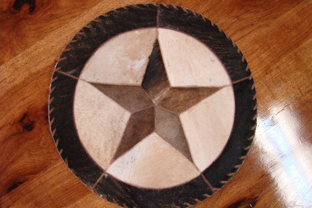 Cowhide Round Placemat with Star 8""
