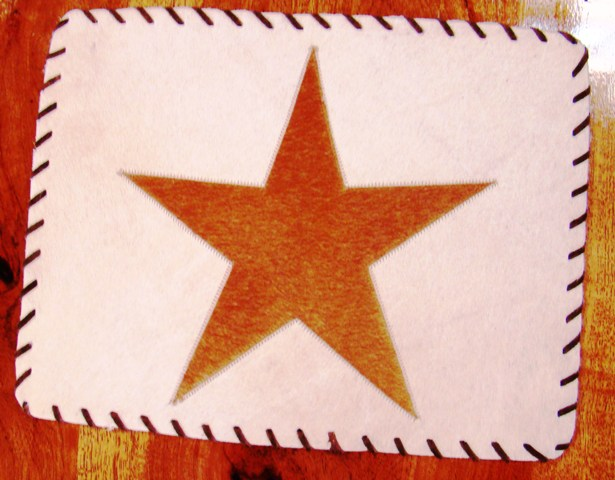 Cowhide Placemat with Star and Leather Lace