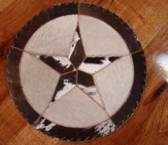 Cowhide Round Placemat with Star 16""