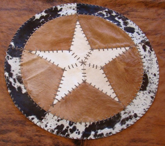 Cowhide Round Placemat with Star 19""