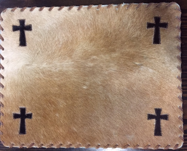 Cowhide Placemat with Cross and Leather Lacing