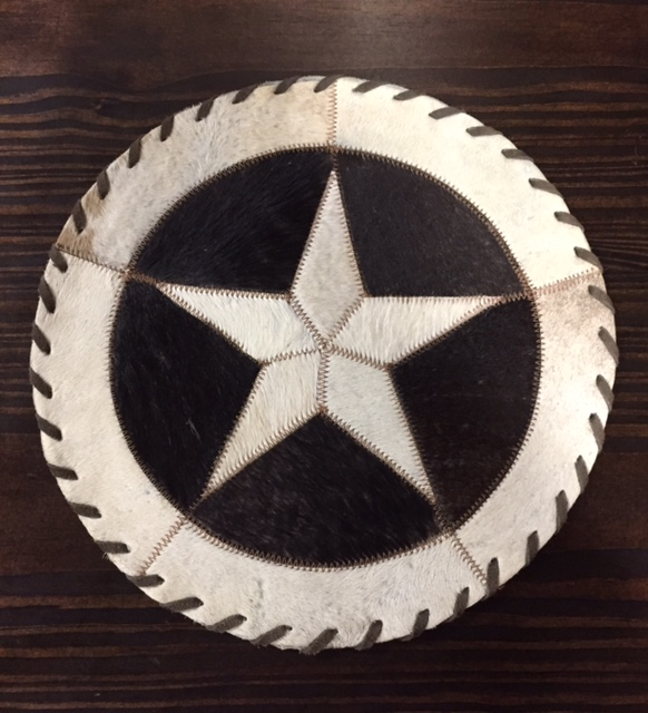 Cowhide Round Placemat with Star
