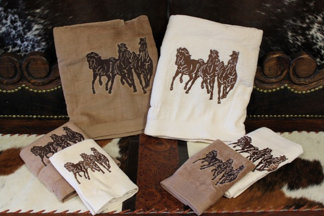 rustic leather and horse bath decor