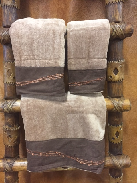 Embroidered Western Barbwire 3pc Towel set