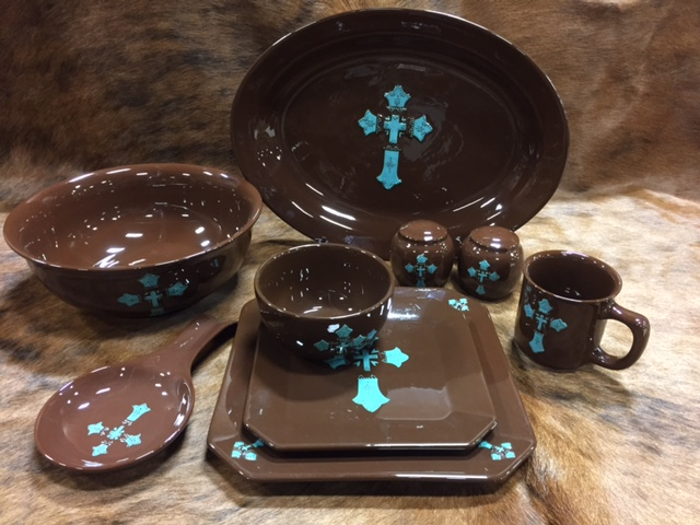 Chocolate and Turqoise Cross Dinnerware