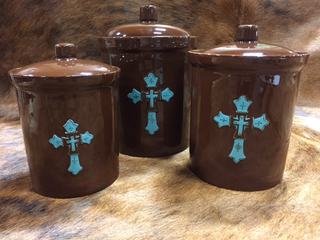 Chocolate and Turqoise Cross Canister Set