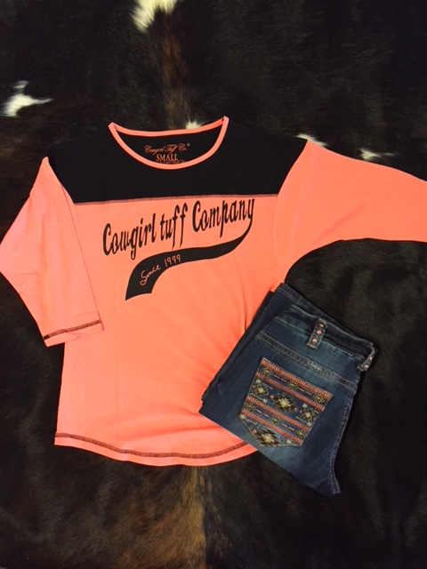 Coral Cowgirl Tuff Quarter Sleeve