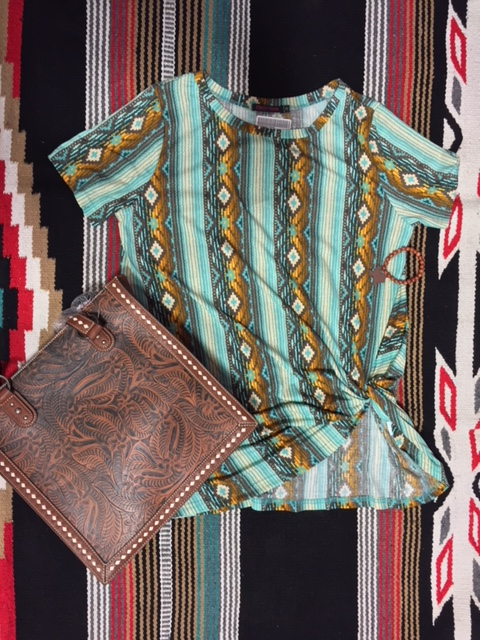 Serape Turquoise Knotted Tee