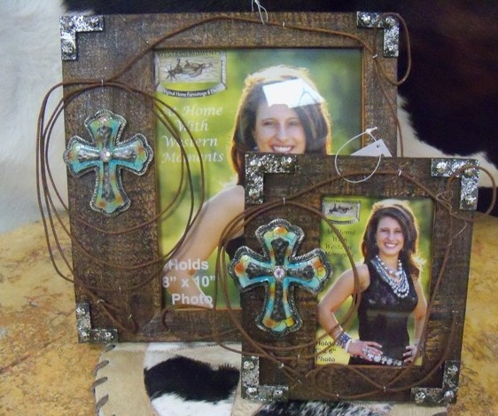 Rustic wood frame with barbwire