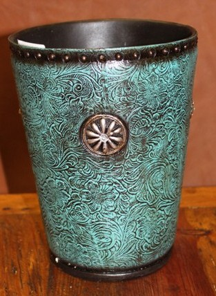 Tooled Turquoise Trashcan