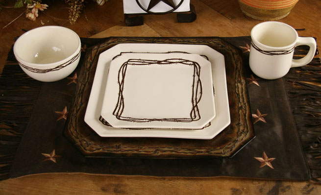 16 pc Dish Set Cream & Chocolate Barbwire