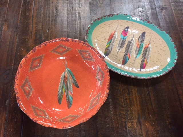Feather Serving Bowl & Platter