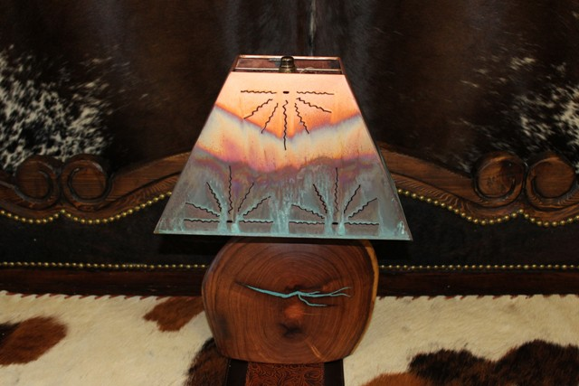 Mesquite with Turquoise w Copper Shade Small