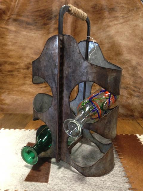 Metal Rustic Wine Holder